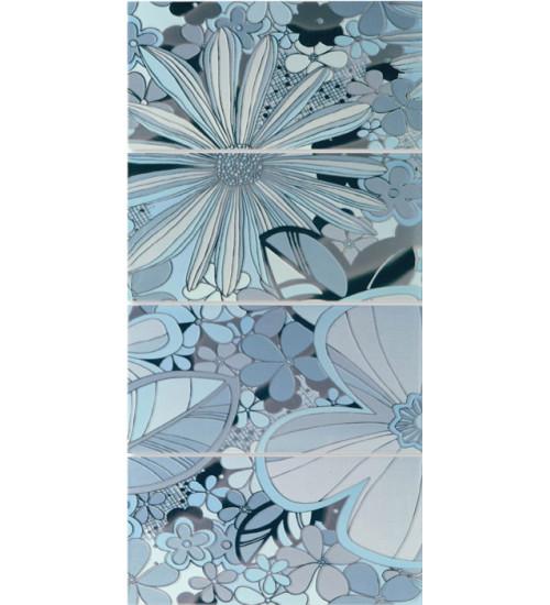 (16080102) Камила панно цветы голубой 40*80 (4шт)