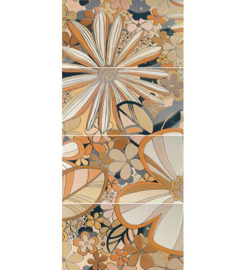 (16080103) Камила панно цветы оранж 40*80 (4шт)