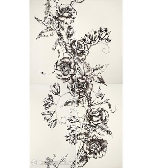 (16090002) Азур панно цветы белый 50х90