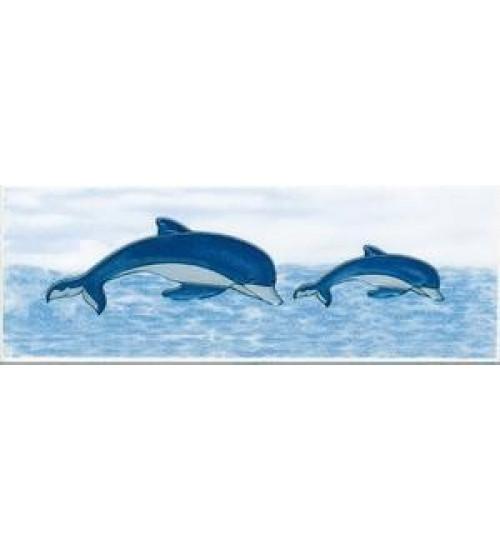 (210712) Орион Бордюр 20*7,1 синий 2 (3 дельфина)