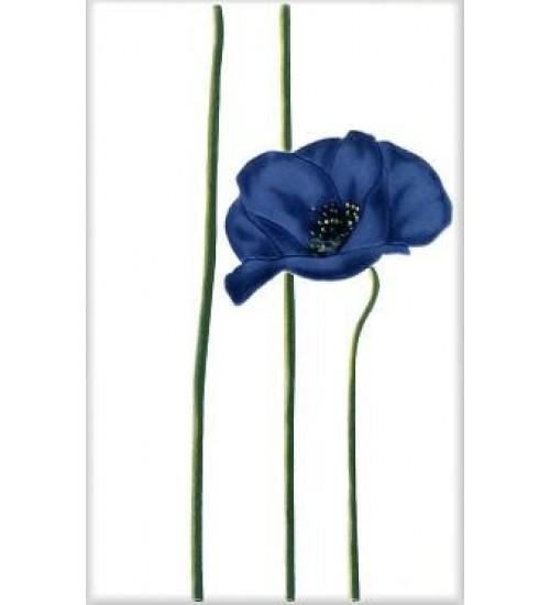 (340012) Моноколор Декор 25*40 Маки цветок синий